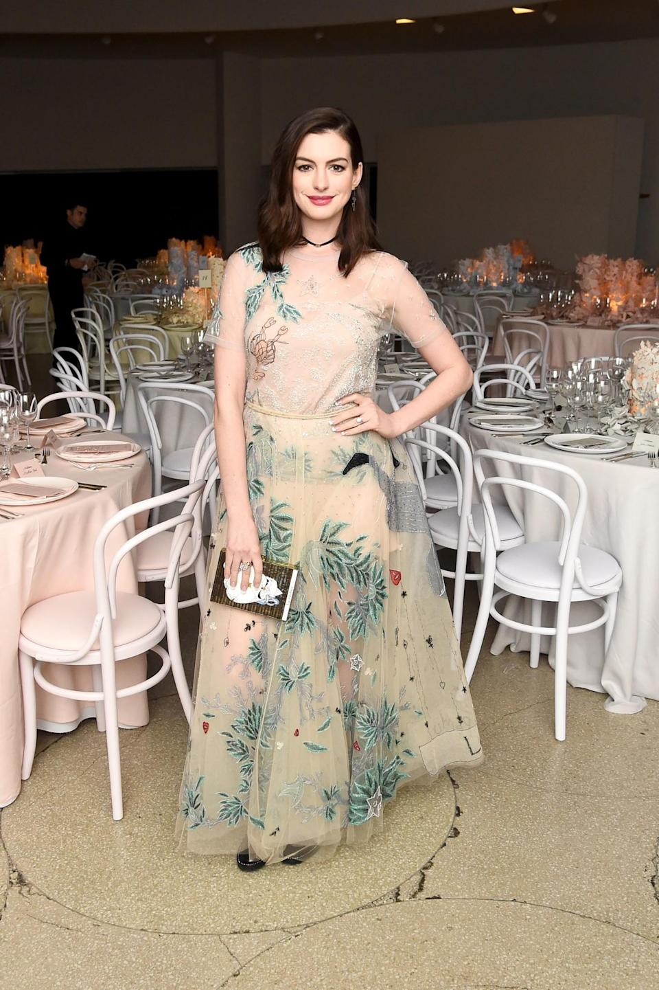 <p>Anne donned a sheer nude dress from Dior's SS17 collection, choosing to accessorise the gown with a simple black choker. <i>[Photo: Getty]</i> </p>