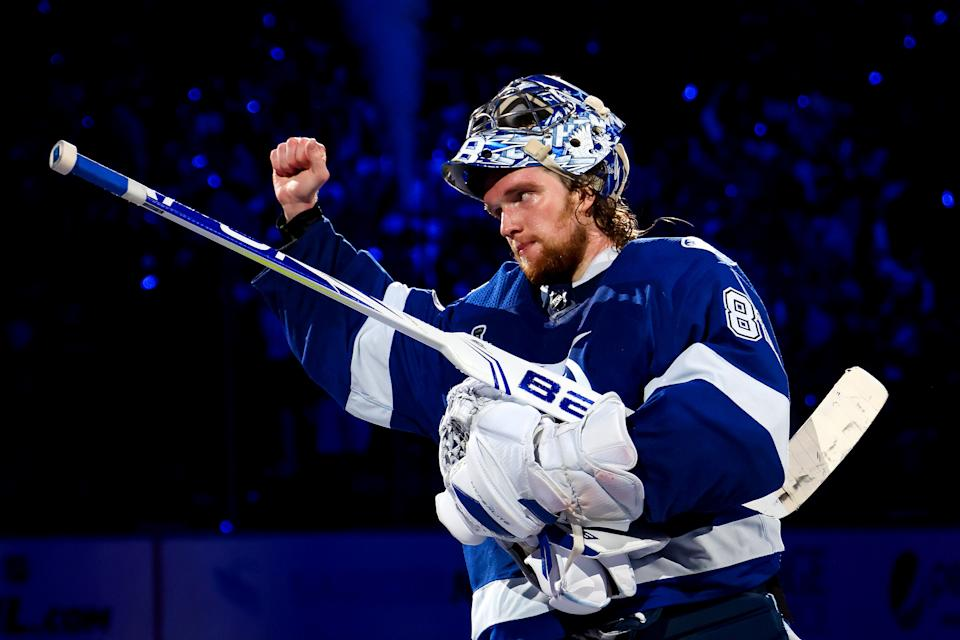 TAMPA, FLORIDA - JUNE 30: Andrei Vasilevskiy #88 of the Tampa Bay Lightning celebrates after defeating the Montreal Canadiens 3-1 in Game Two of the 2021 NHL Stanley Cup Final at Amalie Arena on June 30, 2021 in Tampa, Florida. (Photo by Bruce Bennett/Getty Images)