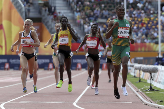 South Africa's Caster Semenya crosses the finish line to win her women's 800m heat at Carrara Stadium during the 2018 Commonwealth Games on the Gold Coast, Australia, Thursday, April 12, 2018. (AP Photo/Mark Schiefelbein)