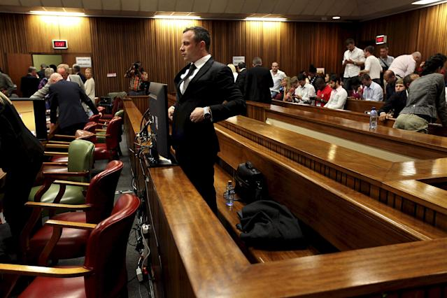 PRETORIA, SOUTH AFRICA - MARCH 5 (SOUTH AFRICA OUT): Oscar Pistorius at the Pretoria High Court on March 5, 2014, in Pretoria, South Africa. Oscar Pistorius, stands accused of the murder of his girlfriend, Reeva Steenkamp, on February 14, 2014. This is Pistorius' official trial, the result of which will determine the paralympian athlete's fate. (Photo by Alon Skuy/The Times/Gallo Images - Pool/Getty Images)