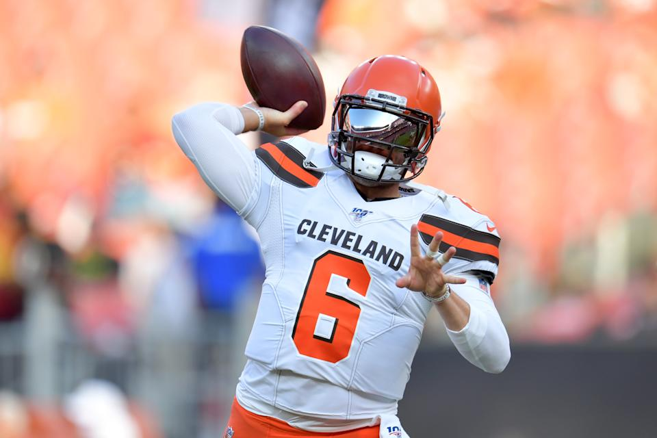 Baker Mayfield didn't need Odell Beckham Jr. to make a big first impression in Cleveland's preseason opener. (Getty)