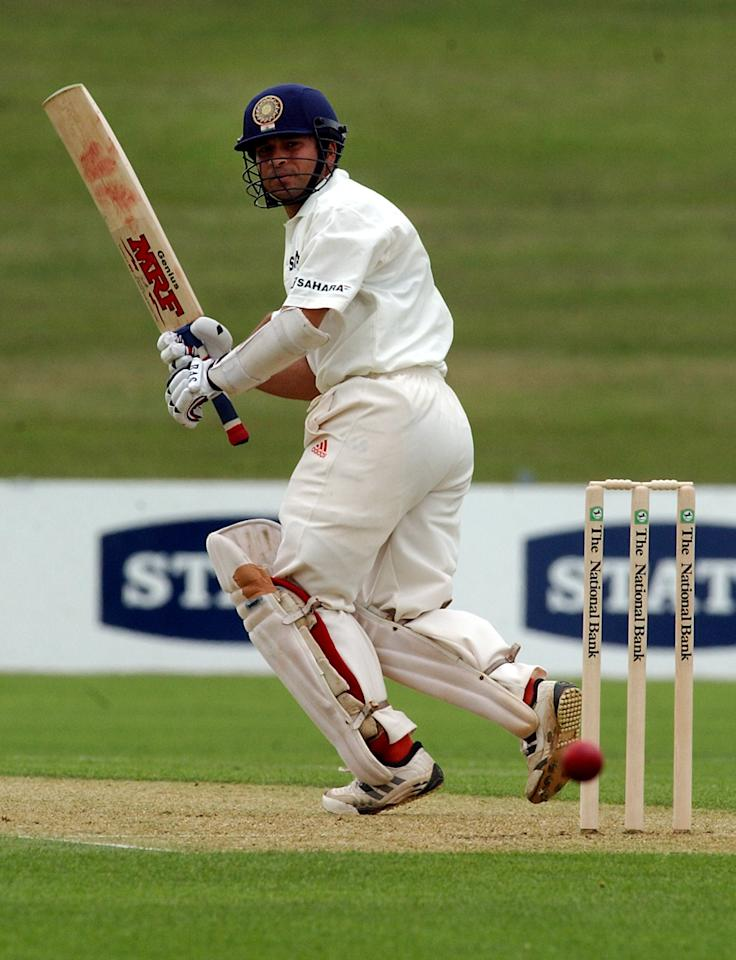 NEW ZEALAND - DECEMBER 06:  India's Sachin Tendulkar turns the ball down leg side against Central Districts on the first day of the three day match at McLean Park, Napier, Friday. Tendulkar made 44 before being bowled out by Lance Hamilton.  (Photo by Ross Setford/Getty Images)