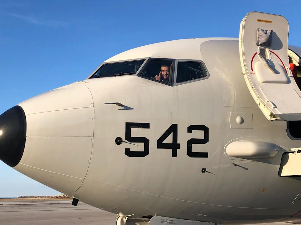 Jamie Gillan in the cockpit of a US Navy P-8A Poseidon