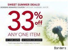 Borders coupon for 33% off