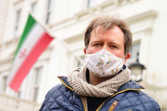 Richard Ratcliffe, the husband of Nazanin Zaghari-Ratcliffe, pictured during a protest outside the Iranian Embassy in London