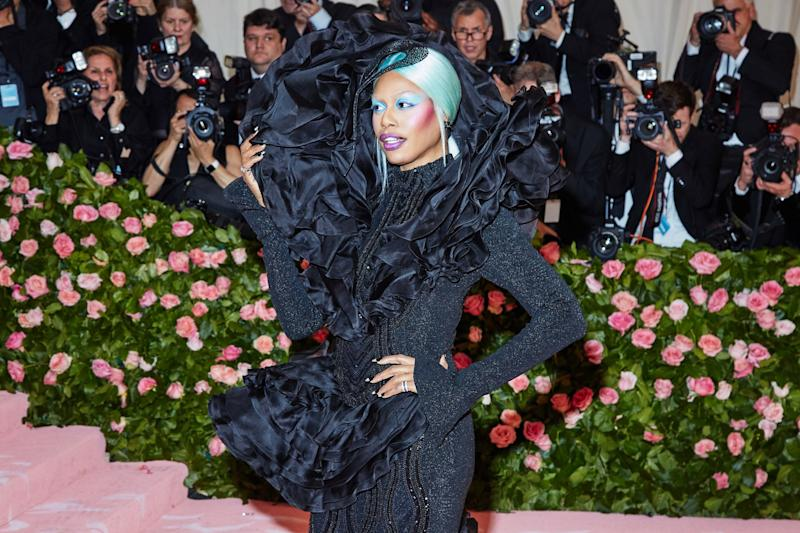 Laverne Cox on the red carpet at the Met Gala in New York City on Monday, May 6th, 2019. Photograph by Amy Lombard for W Magazine.