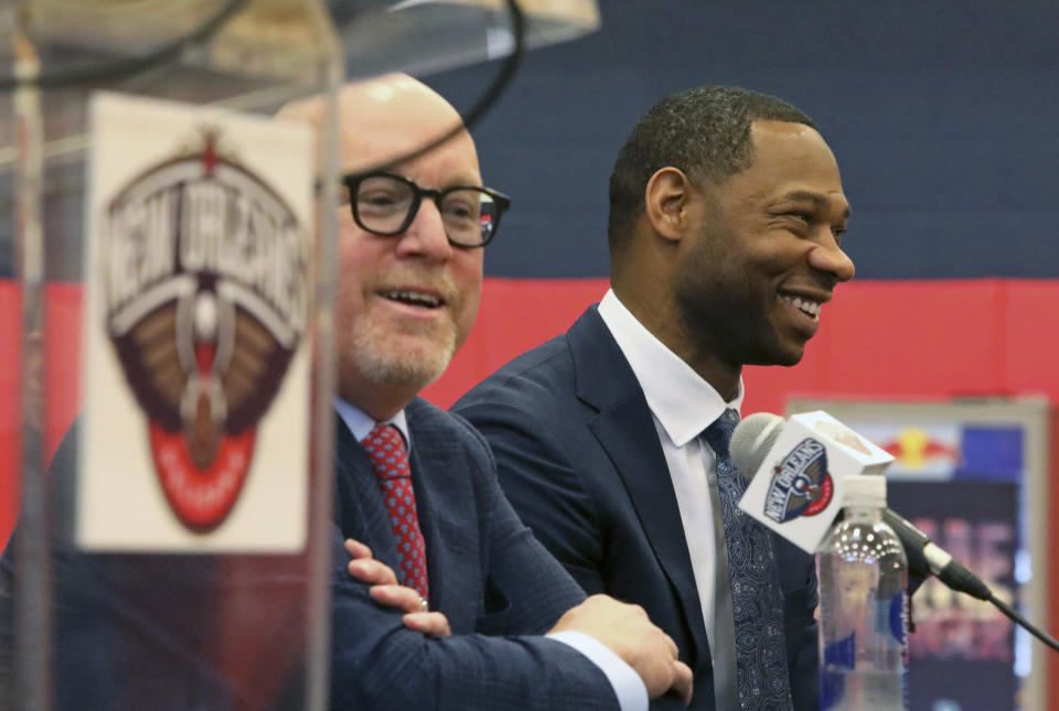Willie Green is introduced as the new head coach for the New Orleans Pelicans NBA basketball team, in Metairie, La., Tuesday, July 27, 2021. At left is Pelicans Executive Vice President of Basketball Operations David Griffin. (AP Photo/Ted Jackson)