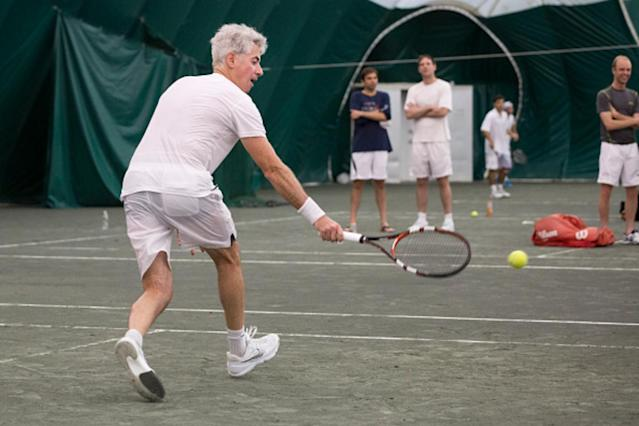 Bill Ackman, CEO of Pershing Square Capital Management, plays tennis in Nike gear Photographer: Michael Nagle/Bloomberg via Getty Images