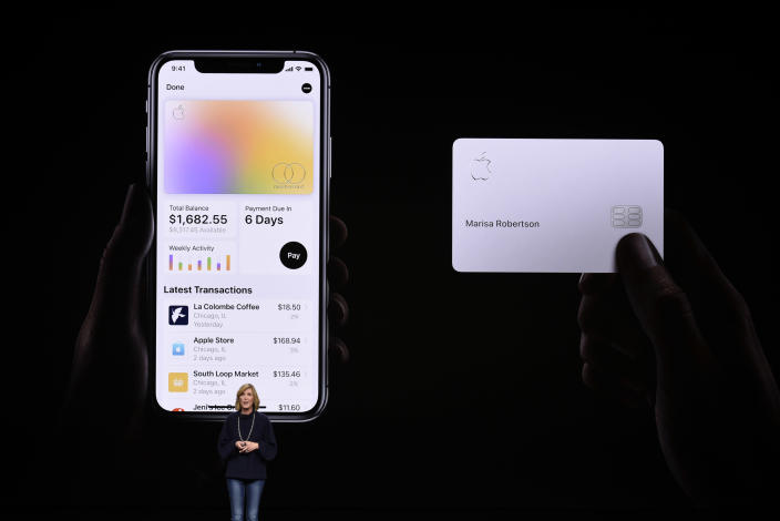 CUPERTINO, CA - MARCH 25: Jennifer Bailey, vice president of Apple Pay, speaks during an Apple product launch event at the Steve Jobs Theater at Apple Park on March 25, 2019 in Cupertino, California. Apple announced the launch of it's new video streaming service, unveiled a premium subscription tier to its News app, and announced it would release its own credit card, called Apple Card. (Photo by Michael Short/Getty Images)