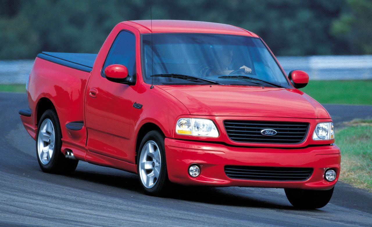 "<p>Ford decided it would be a good idea to plop a supercharged V-8 under the hood of the mid-1990s F-150, creating <a href=""https://www.caranddriver.com/reviews/a15151572/2001-ford-svt-f-150-lighning-instrumented-test/"" target=""_blank"">the SVT Lightning</a>. The result was a tire-smoking 380 horsepower and 450 lb-ft of torque and a blistering 5.2-second zero-to-60-mph time. <a href=""https://go.redirectingat.com/?id=74968X1525085&xs=1&url=https%3A%2F%2Fwww.ebay.com%2Fitm%2F2004-Ford-F-150-SVT-LIGHTNING%2F283585999941%3Fhash%3Ditem42070af445%3Ag%3AjKsAAOSwW7ldWzFT&sref=https%3A%2F%2Fwww.roadandtrack.com%2Fcar-culture%2Fg6853%2Fmost-outrageous-pickup-trucks%2F"" target=""_blank"">Here's one</a> up for bidding right now on eBay.</p>"
