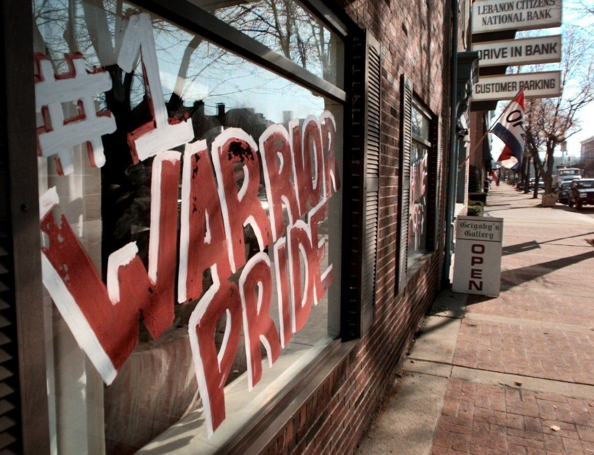 This 1999 Enquirer file photo shows a window on a business in downtown Lebanon supporting the school district's athletic teams.