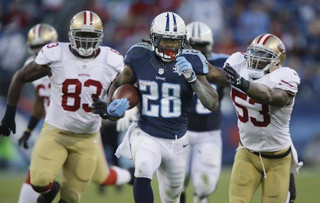 Tennessee Titans running back Chris Johnson (28) runs ahead of San Francisco 49ers defenders Demarcus Dobbs (83) and NaVorro Bowman (53) as Johnson scores a touchdown on a 66-yard pass play in the fourth quarter of an NFL football game on Sunday, Oct. 20, 2013, in Nashville, Tenn. (AP Photo/Wade Payne)