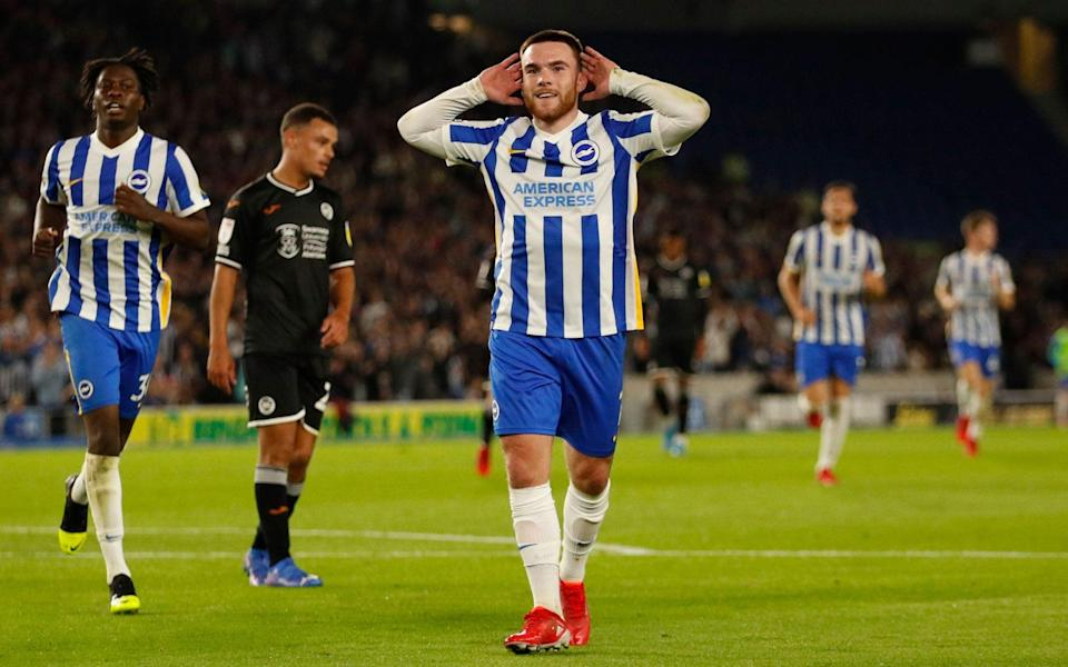 Aaron Connolly celebrates his first Brighton goal in nearly nine months - ACTION IMAGES VIA REUTERS