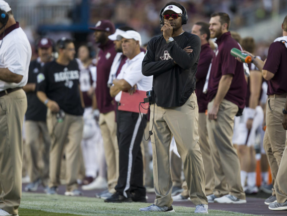 Texas A&M head coach Kevin Sumlin watches a replay during the first quarter of an NCAA college football game against South Carolina. (AP)