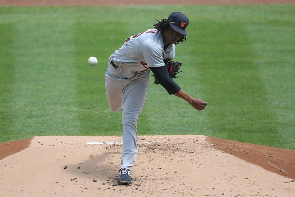 Detroit Tigers starting pitcher Jose Urena pitches against the New York Yankees during the first inning at Yankee Stadium, May 2, 2021 in Bronx, New York.