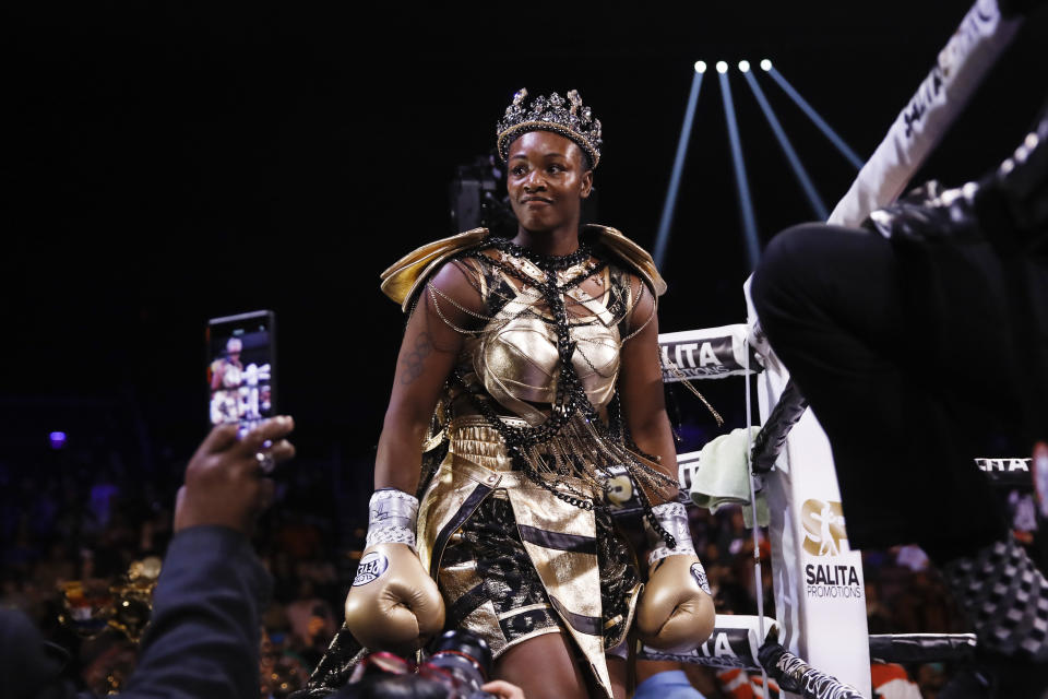 Claressa Shields arrives for her boxing bout against Ivana Habazin for the women's 154-pound title in Atlantic City, N.J., Friday, Jan. 10, 2020. (AP Photo/Matt Rourke)