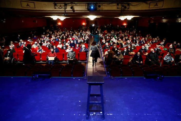 Nursing home residents and workers attend a special theatre show in Madrid