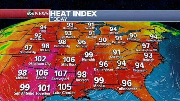 PHOTO: More heat and humidity east of the Rockies is in the forecast Friday, with most areas feeling like its 90 to 100 degrees. Some areas will feel closer to 110 degrees in the South-central states (ABC News)