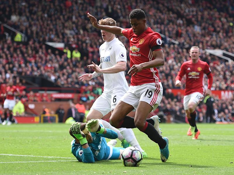 Rashford went to ground very softly in the first-half: Getty