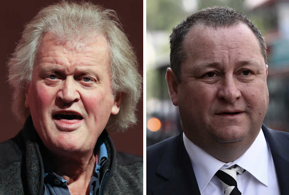 JD Wetherspoon founder and chairman Tim Martin, left, and Sports Direct founder and chief executive Mike Ashley, right. (DANIEL LEAL-OLIVAS/AFP via Getty Images/Carl Court/Getty Images)