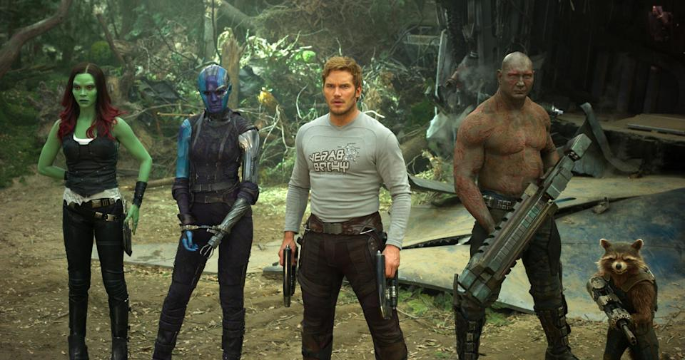 "This image released by Disney-Marvel shows Zoe Saldana, from left, Karen Gillan, Chris Pratt, Dave Bautista and Rocket, voiced by Bradley Cooper, in a scene from, ""Guardians Of The Galaxy Vol. 2."" (Disney-Marvel via AP)"