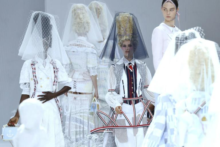 The 18th century is so now: US designer Thom Browne filled his Paris fashion week catwalk with modern Madame Pompadours