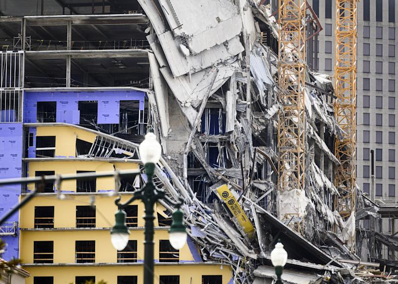The Hard Rock Hotel partially collapsed onto Canal Street downtown New Orleans, Louisiana on October 12, 2019.