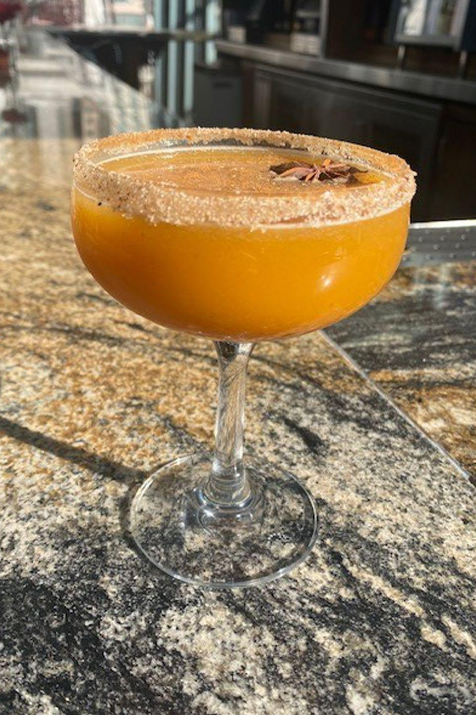 <p><strong>Ingredients</strong></p><p>2 oz Woodford Reserve <br>1 oz Grand Marnier<br>1 oz Domaine De Canton<br>.5 oz lemon juice<br>2 oz pumpkin puree</p><p><strong>Instructions</strong></p><p>Stir all ingredients together, and pour into a couple glass or glass or choice. Top with a sprinkling of allspice and nutmeg mixture and a star anise pod for added flavor.</p><p><em>By Grant Gedemer of I|O Godfrey in Chicago.</em></p>