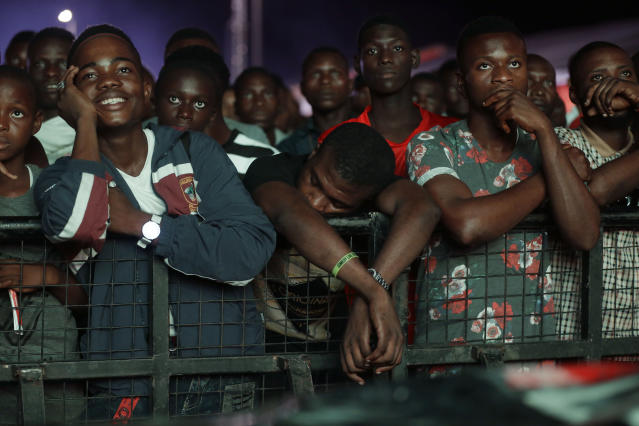 Nigeria's national soccer team fans reacts during a televised broadcast of the Russia 2018 World Cup match between Croatia and Nigeria, in Lagos, Nigeria, Saturday, June 16, 2018. (AP Photo/Sunday Alamba)