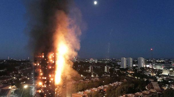 PHOTO: A huge fire engulfs the 24 story Grenfell Tower in Latimer Road, West London in the early hours of this morning in this June 14, 2017 file photo in London. (Gurbuz Binici /Getty Images, FILE)