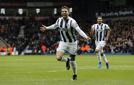 West Bromwich Albion's Hal Robson-Kanu celebrates scoring their second goal
