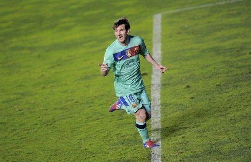 FC Barcelona's forward Lionel Messi celebrates after scoring