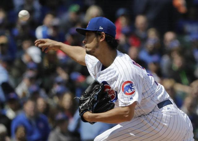 Cubs pitcher Yu Darvish was a human highlight reel Friday against the Brewers. (AP)