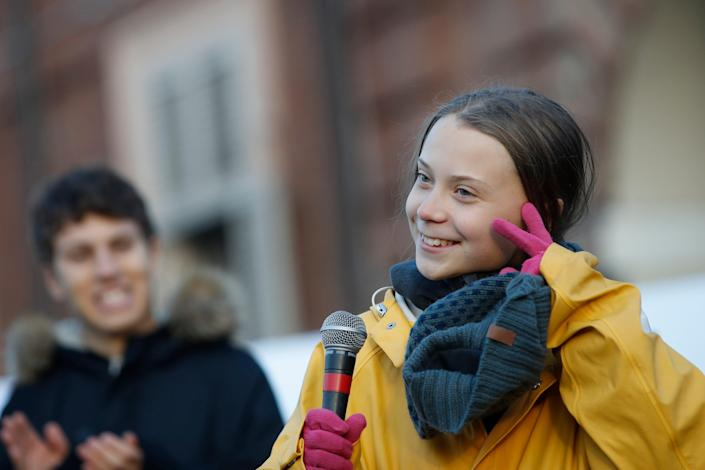 Swedish environmental activist Greta Thunberg attends a climate march, in Turin, Italy, on Dec. 13, 2019. Thunberg was named Time's 2019  of the Year, as the figurehead of a global youth movement pressing governments for faster action on climate change.