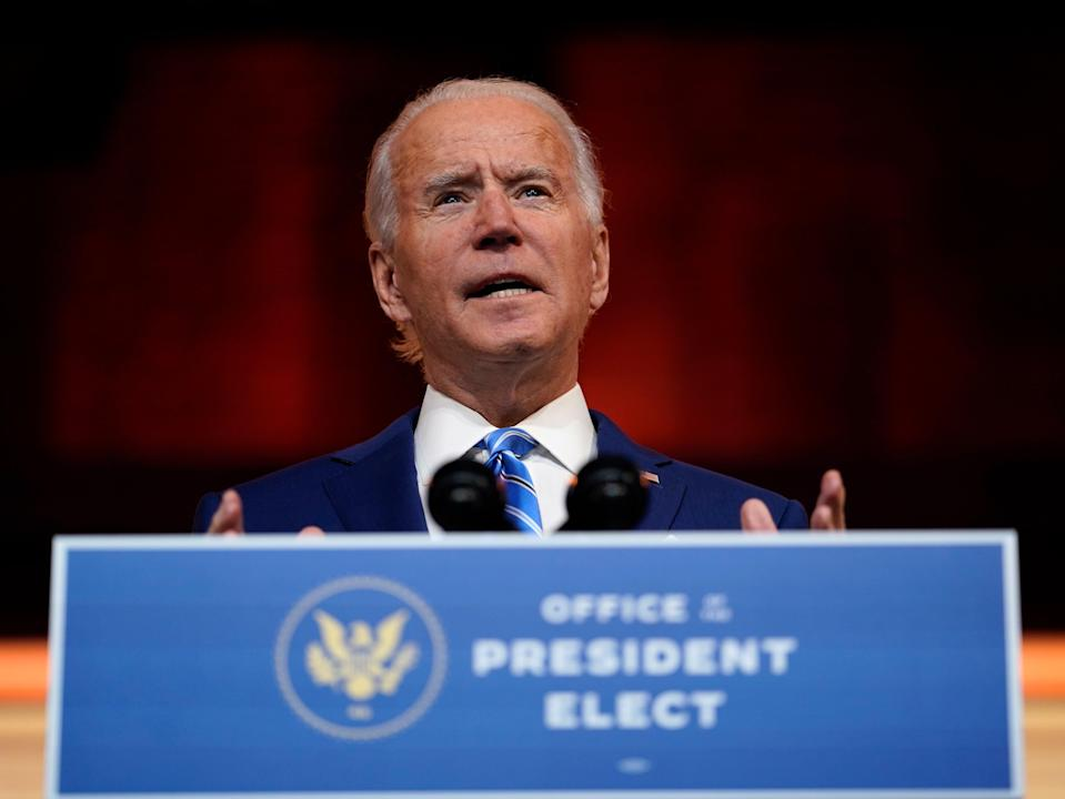 President-elect Joe Biden speaks at The Queen theatre, Wednesday 25 November 2020, in Wilmington, Delaware (Associated Press)