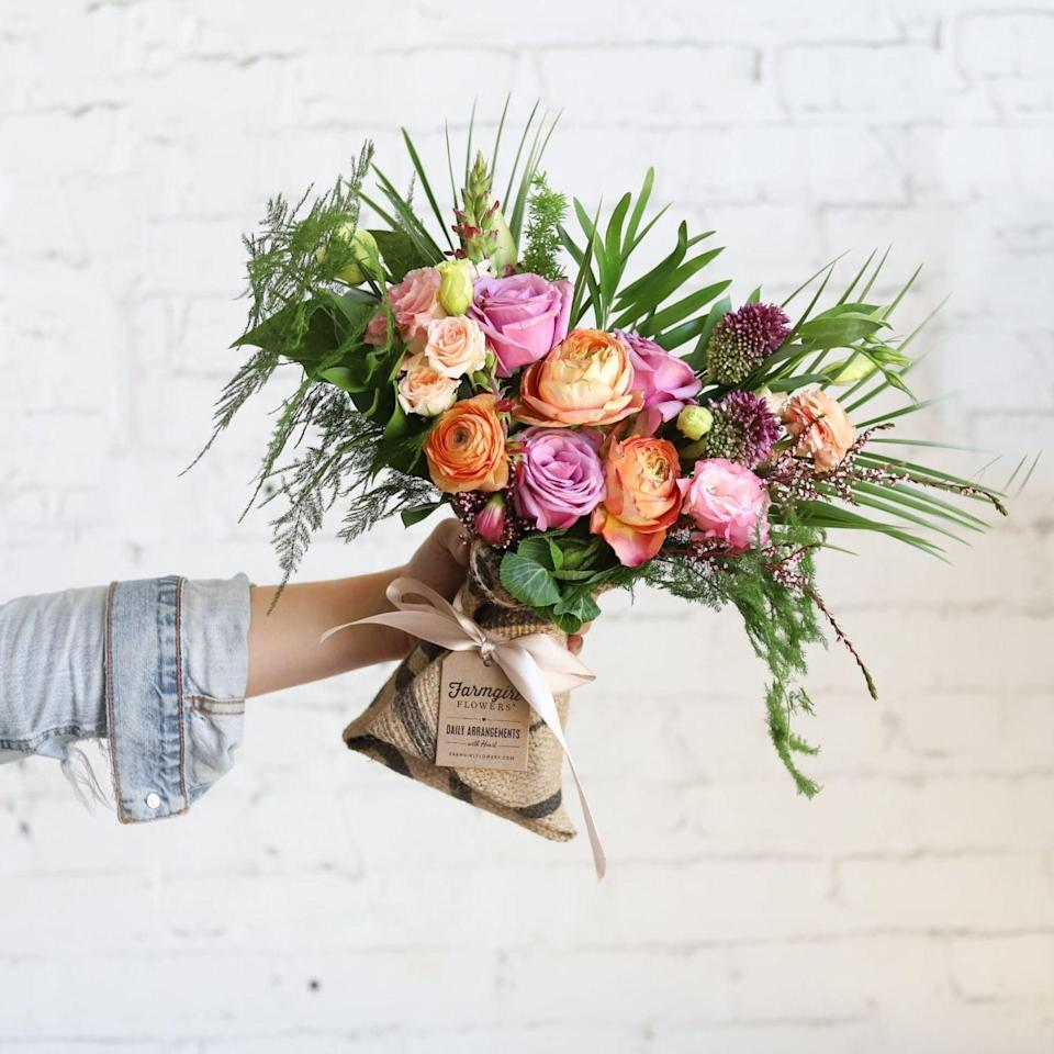 """<p>With 15 different types of blooms, this <a href=""""https://www.popsugar.com/buy/Fun-Size-Burlap-Wrapped-Bouquet-55376?p_name=Fun%20Size%20Burlap%20Wrapped%20Bouquet&retailer=farmgirlflowers.com&pid=55376&price=59&evar1=casa%3Aus&evar9=46127505&evar98=https%3A%2F%2Fwww.popsugar.com%2Fhome%2Fphoto-gallery%2F46127505%2Fimage%2F47428773%2FFun-Size-Burlap-Wrapped-Bouquet&list1=shopping%2Cgift%20guide%2Cflowers%2Chouse%20plants%2Cplants%2Cmothers%20day%2Cgifts%20for%20women&prop13=api&pdata=1"""" class=""""link rapid-noclick-resp"""" rel=""""nofollow noopener"""" target=""""_blank"""" data-ylk=""""slk:Fun Size Burlap Wrapped Bouquet"""">Fun Size Burlap Wrapped Bouquet </a> ($59) will never get old. </p>"""