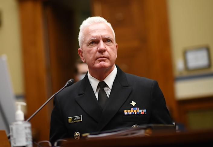 Adm. Brett Giroir, director of U.S. coronavirus diagnostic testing, looks on as he testifies during a House Subcommittee on the Coronavirus Crisis hearing on a national plan to contain the COVID-19 pandemic, on Capitol Hill in Washington, July 31, 2020.