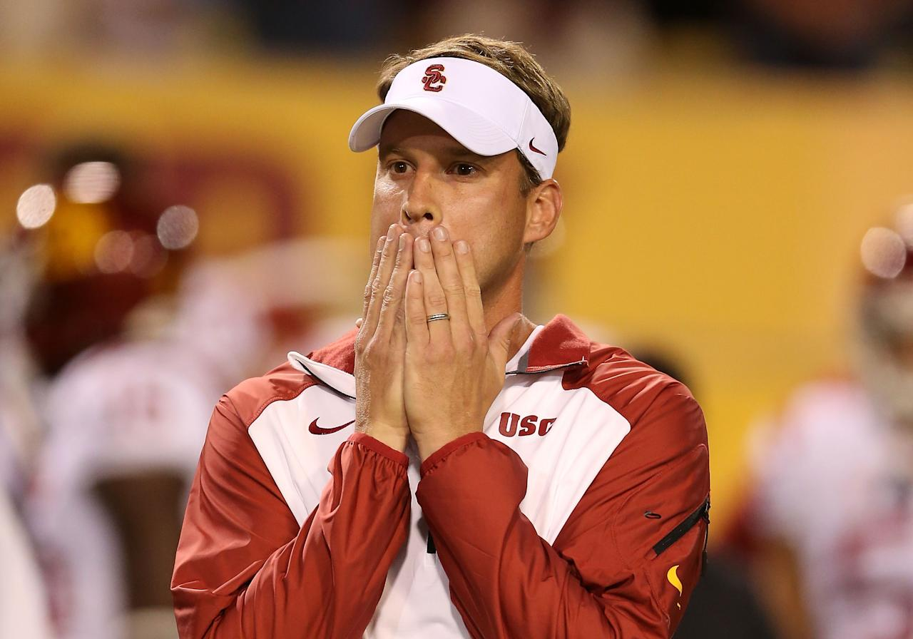TEMPE, AZ - SEPTEMBER 28: Head coach Lane Kiffin of the USC Trojans reacts during the college football game against the Arizona State Sun Devils at Sun Devil Stadium on September 28, 2013 in Tempe, Arizona. (Photo by Christian Petersen/Getty Images)
