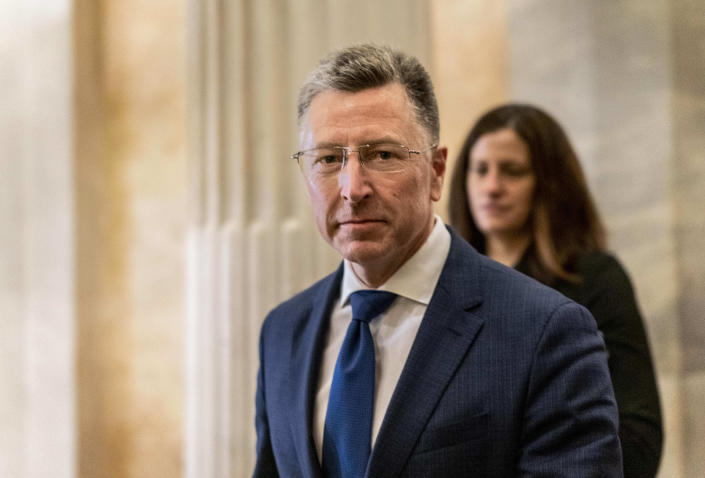 WASHINGTON, DC - OCTOBER 3: After an all-day deposition behind closed doors with the House Intelligence Committee, former United States envoy to the Ukraine Kurt Volker departs the US Capitol in Washington, DC on Thursday evening October 3, 2019. Volker was deposed in relation to the impeachment inquiry concerning President Donald Trump. (Photo by Melina Mara/The Washington Post via Getty Images)