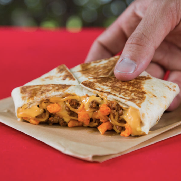 <p>This takes all the classic components of TB's crunchwrap–seasoned ground beef, warm nacho cheese sauce, shredded cheddar cheese–and adds crunchy cheddar jalapeño Cheetos for an extraordinary flavor explosion. </p>