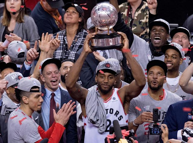 Kawhi Leonard and the Raptors are Eastern Conference champions. (Frank Gunn/The Canadian Press via AP)