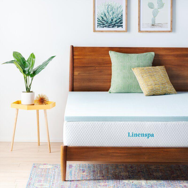 """<p><strong>Linenspa Essentials</strong></p><p>wayfair.com</p><p><strong>$73.00</strong></p><p><a href=""""https://go.redirectingat.com?id=74968X1596630&url=https%3A%2F%2Fwww.wayfair.com%2Fbed-bath%2Fpdp%2Flinenspa-essentials-2-gel-memory-foam-mattress-topper-w002936706.html&sref=https%3A%2F%2Fwww.housebeautiful.com%2Fshopping%2Fhome-accessories%2Fg37129584%2Fbest-mattress-toppers%2F"""" rel=""""nofollow noopener"""" target=""""_blank"""" data-ylk=""""slk:BUY NOW"""" class=""""link rapid-noclick-resp"""">BUY NOW</a></p><p>One of the most affordable options out there, this 2-inch memory foam topper is infused with gel to ensure a comfortable temperature throughout the night.</p>"""