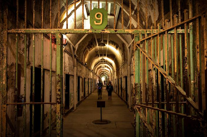 "This is inside the Eastern State Penitentiary in downtown Philadelphia. The attraction has canceled its annual ""Terror Behind the Walls"" Halloween haunt this year due to COVID-19. As an alternative, the destination is offering limited night tours of the prison, which dates back nearly 200 years."