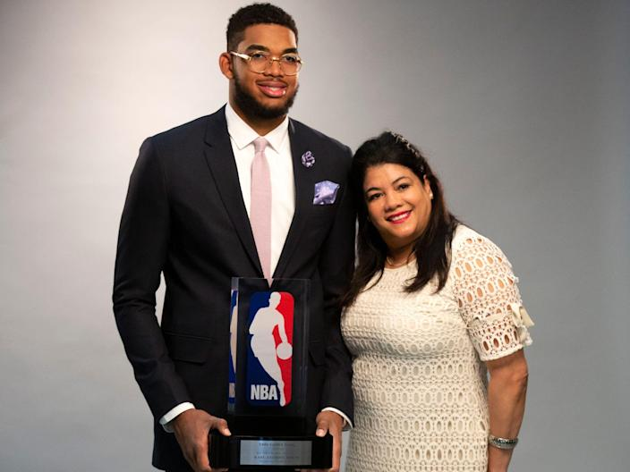 Karl Anthony Towns and Mother Getty Images