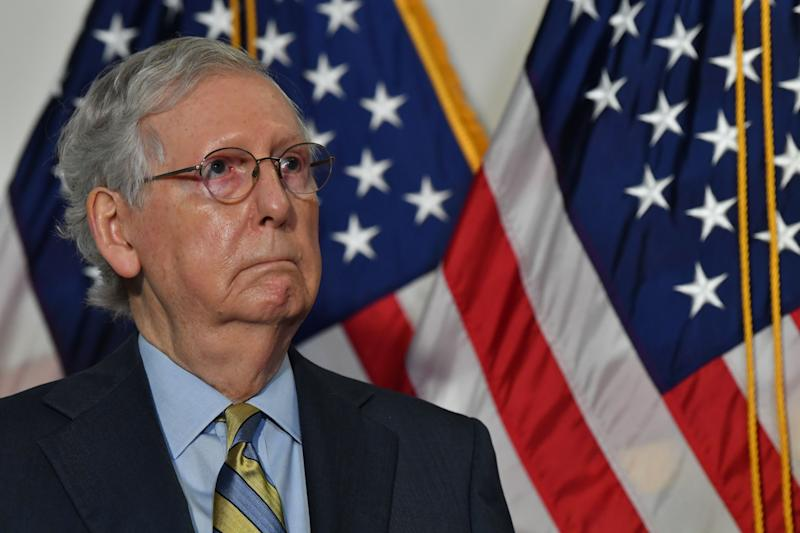 Senate Republicans, led by Majority Leader Mitch McConnell, met behind closed doors Tuesday to discuss the timing of hearings and a confirmation vote for the next Supreme Court nominee. (Photo: NICHOLAS KAMM via Getty Images)