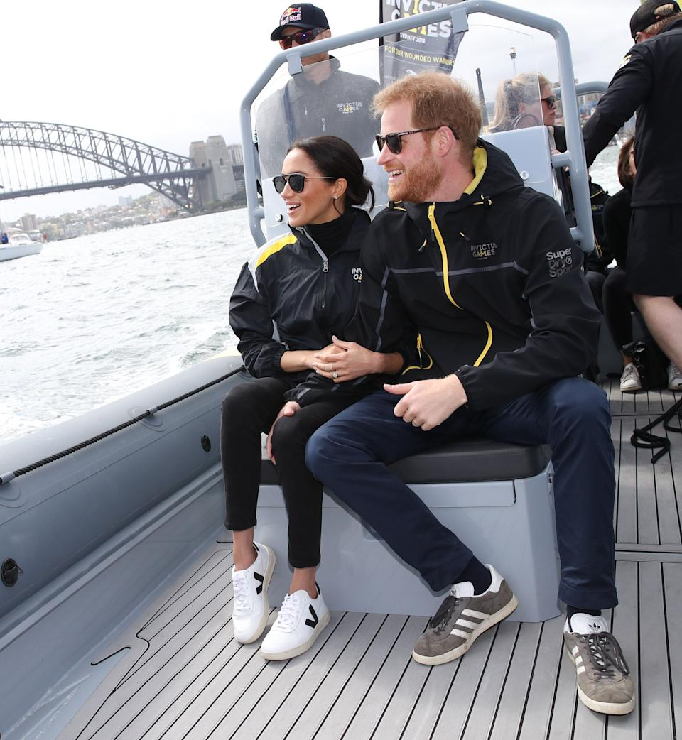 On day two of the royal tour, Meghan stepped out in a pair of this season's 'It' trainers [Photo: Getty]