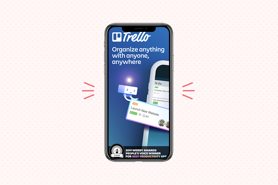 """<p>This one's great for managing your workflow — especially if your work requires collaborating with teammates or sharing information with clients. Specifically, <a href=""""https://trello.com/en-US"""" rel=""""nofollow noopener"""" target=""""_blank"""" data-ylk=""""slk:Trello"""" class=""""link rapid-noclick-resp"""">Trello</a> helps you<strong> organize projects with an easy-to-use layout. </strong>Smaller tasks can be grouped into """"cards"""" and """"boards,"""" all of which can be assigned to groups or team members — and then assigned a due date — for an easy way to manage progress.</p><p><strong>Cost</strong>: Free</p><p><strong><strong>Get it for </strong><a href=""""https://play.google.com/store/apps/details?id=com.trello&hl=en_US"""" rel=""""nofollow noopener"""" target=""""_blank"""" data-ylk=""""slk:Android"""" class=""""link rapid-noclick-resp"""">Android</a> or<a href=""""https://apps.apple.com/us/app/trello-organize-anything/id461504587"""" rel=""""nofollow noopener"""" target=""""_blank"""" data-ylk=""""slk:IOS"""" class=""""link rapid-noclick-resp""""> IOS</a></strong></p>"""