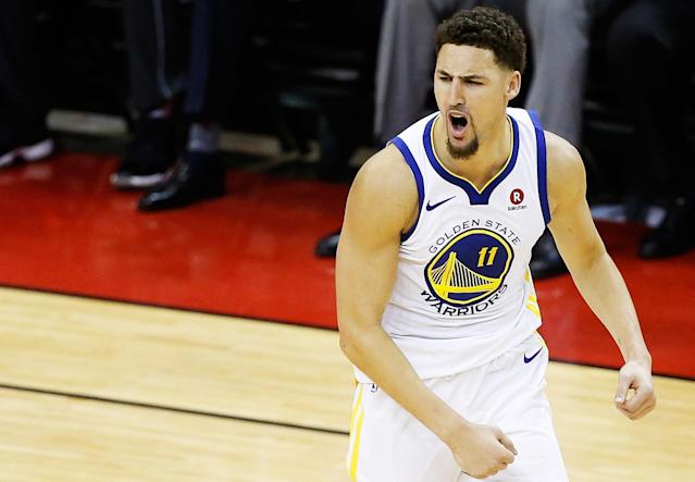 "The <a class=""link rapid-noclick-resp"" href=""/nba/teams/gsw"" data-ylk=""slk:Golden State Warriors"">Golden State Warriors</a> have opened as heavy favorites to repeat and win the NBA Finals against the <a class=""link rapid-noclick-resp"" href=""/nba/teams/cle"" data-ylk=""slk:Cleveland Cavaliers"">Cleveland Cavaliers</a>. (Getty Images)"