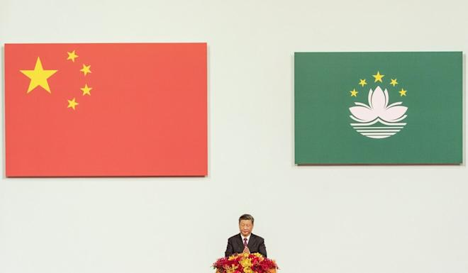 Chinese President Xi Jinping gives a speech in Macau to celebrate the 20-year anniversary of the former Portuguese colony's return to Chinese rule, on December 20, 2019. Photo: Bloomberg