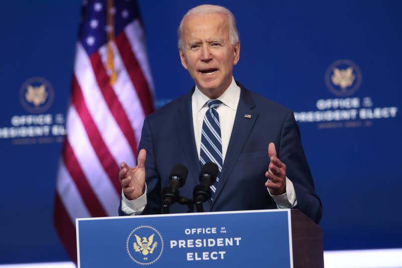U.S. President-elect Biden holds news conference in Wilmington, Delaware